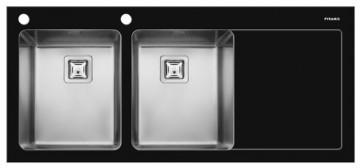 poza Chiuveta Crystalon 2B 1D ST Sticla Temperata Neagra & Inox SQ
